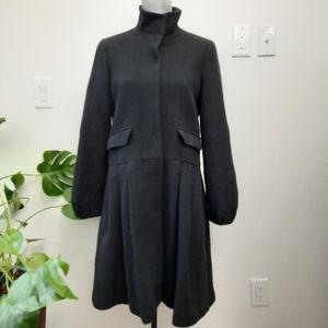 THEORY Gilana Wool Black Textured Peacoat